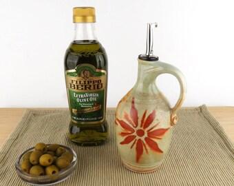 Olive Oil Bottle - 16 oz. -  Oil Dispenser / Oil Cruet - Pale Green / Light Green with Terracotta Sunburst