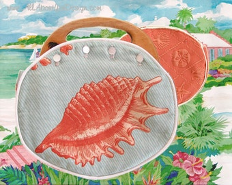 Ladies BERMUDA Bag  Seaside Collection Aqua & Coral Shell with Coral Shell Matelesse on the reverse side CUSTOM HANDMADE