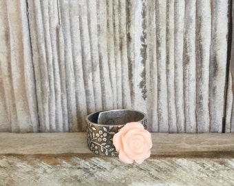 Rose Ring, Peach Flower Silver Plate Patterned Adjustable Ring, Retro Rose Boho Ring, Country Chic Jewelry