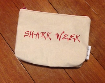 Embroidered Zipper Pouch-Shark Week (EZip 11)