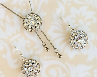 Birthstone Jewelry Sets,Necklace Earrings,Crystal,April,Long Y Necklace,Prom Jewelry,Bling,Wedding Jewelry