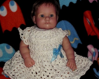 Crochet baby dress 0-3 months spring summer time cream off white glitter cotton girls