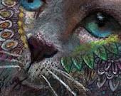 original art drawing aceo card blue eye cat zentangle