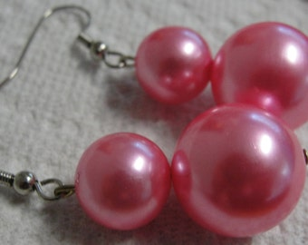 Hot Pink Beaded Dangle Pierced Earrings