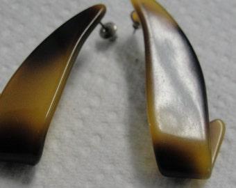 Brown Acrylic Pierced Earrings
