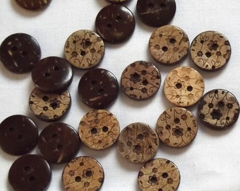 Natural Coconut Buttons, 15mm x 2