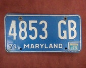 Vintage 1971 Maryland License Plate - Vintage Plate - FREE SHIPPING - Annapolis - Baltimore
