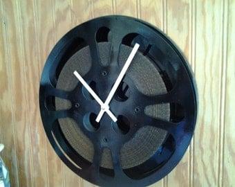 """Movie Reel Clock - Repurposed and Upcycled Film Reel Wall Clock - 10"""" Diameter - Vintage Movie Reel"""
