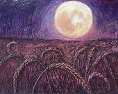 Harvest Moon - Original Acrylic painting - Abstract Landscape Art - 9x12