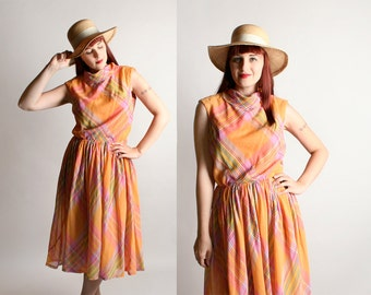 Vintage 1960s Dress - Striped Plaid Sherbet Peach Cotton Rainbow Day Dress - Medium