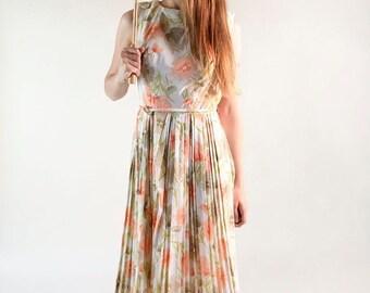 ON SALE Vintage 1960s Floral Dress - Peach Pastel Flower Garden Summer Dress - Medium Large