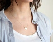 Minimalist Small Triangle Necklace - Gold or Silver