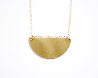 Minimalist Semicircle Necklace - Gold or Silver