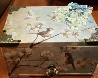 Box, Jewelry, art print jewelry box, blue birds, dogwood, jewelry box, home decor