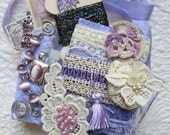Embellishment Inspiration Kit ...Purple, Lilac...Gift Box 77, Series 1...Vintage Elements, Supplies for Collage, Crazy Quilting,Scrapbooks