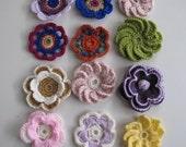 Crochet Applique Flowers,12 flowers,multi color