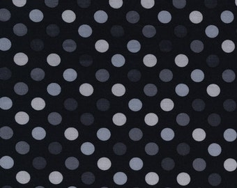 Spot On Fabric, Polka Dot fabric, Black Polka Dot, Gray fabric, Nursery fabric, Quilting fabric, Polka Dot gray, Cotton Fabric by the yard