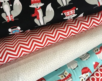 Polar Pals Bundle of 5, Fox fabric, Owl fabric, Cute winter fabric, Modern Fabric by Andie Hanna for Robert Kaufman, Choose the Cut