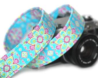 Camera Strap, Floral Camera Strap, Cabana Blue