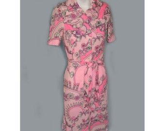 1970's Colin Glascoe Hot Pink Print Dress