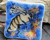 Small fused glass trinket dish honey bee with orange and yellow flowers