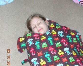 Monster sleeping bag, child sleep sack, toddler nap mat