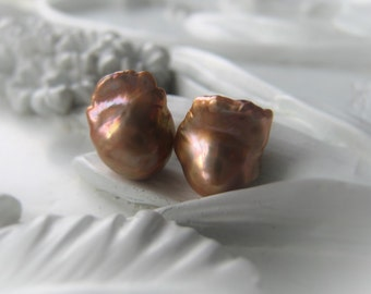 Freshwater Pearl Bead Pair Baroque Pearl Pair Flameball Pearl Gold Bridal Pearl Item No. 0700 4142