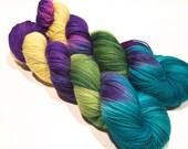 Hand Dyed Yarn – Superwash Merino Wool Cashmere Nylon MCN Sock Yarn  - Yellow, Green, Turquoise, Purple - 400 Yards – Fingering Weight Yarn