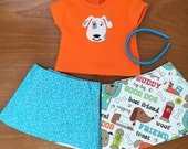 Puppy Dog Reversible wrap girl doll skirt, Doll headband, 15 inch doll skirt, 18 inch doll skirt set, doll wrap skirt Ready to Ship FAST