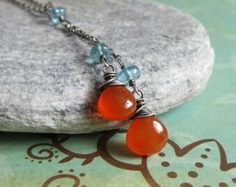 Orange Carnelian Necklace, Blue Apatite Necklace, Long Pendant, Gemstone Necklace, Oxidized Sterling Silver Chain