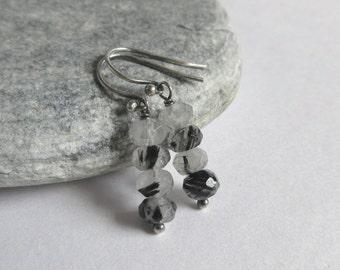 Black Rutilated Quartz Earrings, Sterling Silver, Rustic Gemstone Earrings, Rutilated Quartz Jewelry