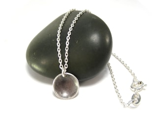 Simple Black Pendant Necklace, Black Necklace in Sterling Silver