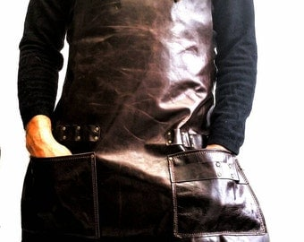 Leather Apron in Brown Italian Leather