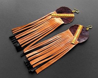 Leather Earrings, Long Leather Earrings, Statement Earrings, Leather Fringe Earrings, Afropunk, Afronaut Long Leather Earrings