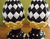 Whimsical Checks Bookends Hand Painted Black and Creme and Gold Mackenzie Childs INSPIRED
