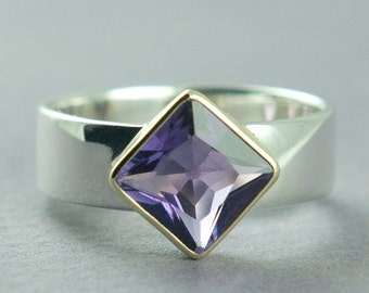 Amethyst Ring, Purple Princess Cut Square, Solitaire Ring, Silver and Gold, Bezel Set Gemstone, Made to Order, Free Courier Shipping