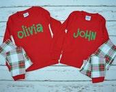 Christmas Plaid Pajamas - Christmas Personalized Pajamas -Christmas Monogram Pajamas - Christmas Pajamas -  JULIANNE ORIGINALS