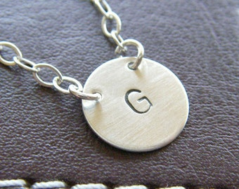 Custom Initial Necklace - Personalized Sterling Silver Hand stamped Charm Jewelry - Connect (Small Initial)