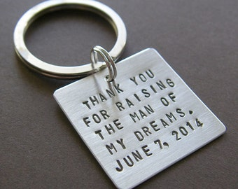 "Custom Keychain - Personalized Hand Stamped Sterling Silver - 1"" Square - Perfect Father or Mother of the Groom Gift"