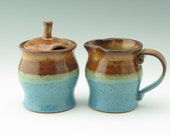 Pottery Sugar & Creamer Set Honey Brown and Light Blue - Stoneware Honey Jar and Pitcher, Pot Belly Style Coffee Set Ready to Ship