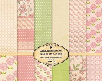 Pink Blossom Digital Papers for digital scrapbooking, card making Download Printable papers