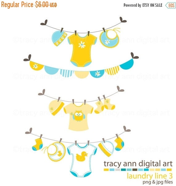 Baby Washing Line Clip Art -  Baby Laundry Line, Yellow and Blue, Onsies, Baby Clothes,  Bunting Clip Art