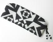 Wool Zippered Pouch Pencil Case Accessory Organizer Cosmetic Bag Clutch Native American Print