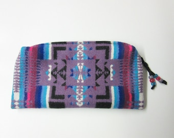 Large Zippered Pouch Cosmetic Bag Accessory Organizer Southwest Blanket Wool from Pendleton Oregon