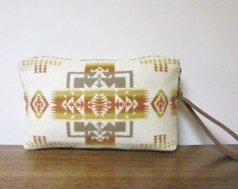 Wrist Bag Clutch Bag Purse Native American Print Wool Removable Caramel Brown Leather Strap