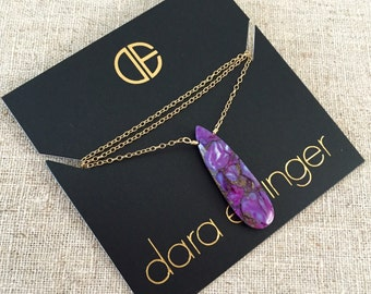 "18"" Dara Ettinger Natural Purple Turquoise Pearshape Pendant Necklace"