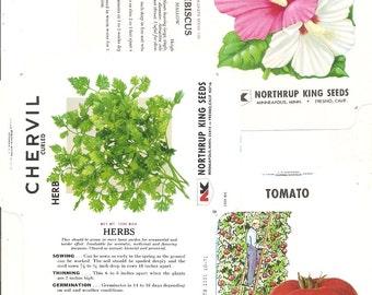 14 Vintage FLOWER / VEGETABLE Unfolded Vegetable Seed Packs (B)