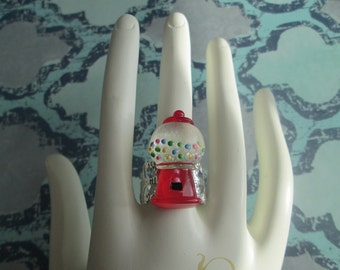 Gumball Machine with Bubblegum Ring on Adjustable Silver Filigree Band