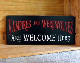 Wood Sign Vampires Werewolves Welcome Wall Decor Halloween Decor Wall Art Spooky Horror