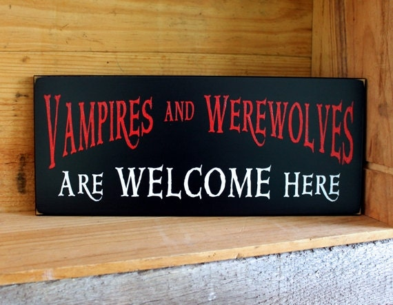 Wood Sign Vampires Werewolves Welcome Wall Decor Halloween Decor Wall Art Spooky Horror